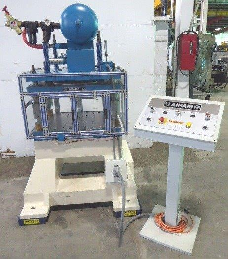 15 Ton AIRAM PNEUMATIC FOUR POST PRESS Model PulsAir No. PA15-0101, 3″ Max. Stroke, 14.5″ Die Height, 35″ x 25″ Bed, 2006, Excellent