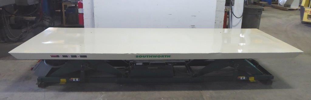 12,000 Lb. SOUTHWORTH LST12-36, 48″ x 144″ Platform, 43″ Raised, 7″ Lowered, Pendant