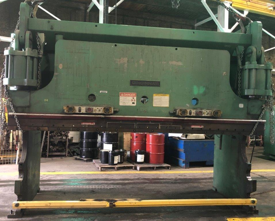 350 Ton CINCINNATI Press Brake, Hydraulic, No. CB350X12, 14′ O.A., 12'6″ B.H., 10″ Stroke, 30 HP, 4-Way Die