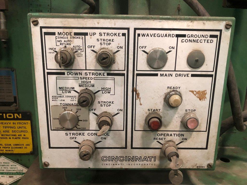 """350 Ton CINCINNATI Press Brake, Hydraulic, No. CB350X12, 14' O.A., 12'6"""" B.H., 10"""" Stroke, 30 HP, 4-Way Die"""