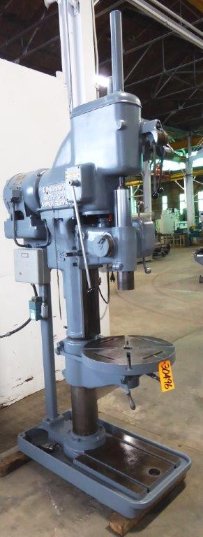 24″ Cincinnati Bickford Super Service Single Spindle Drill, 60-1000 RPM, 4 M.T., P.F., 22″ Dia. Tbl., 5 HP