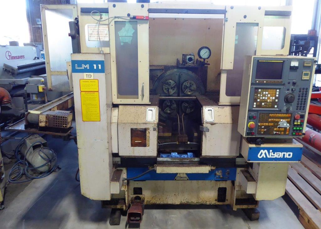 Miyano LM 11, 4 Spindle, (4) 6″ Chucks, Dual Turrets, Fanuc 0-TT, As-Is