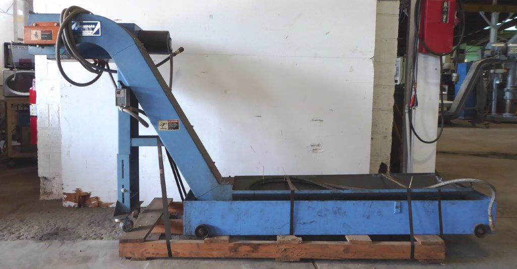 """Chip Conveyor: Jorgensen, 6"""" Wide, 110"""" Coolant Tank, Casters, Long, 1/3 HP"""