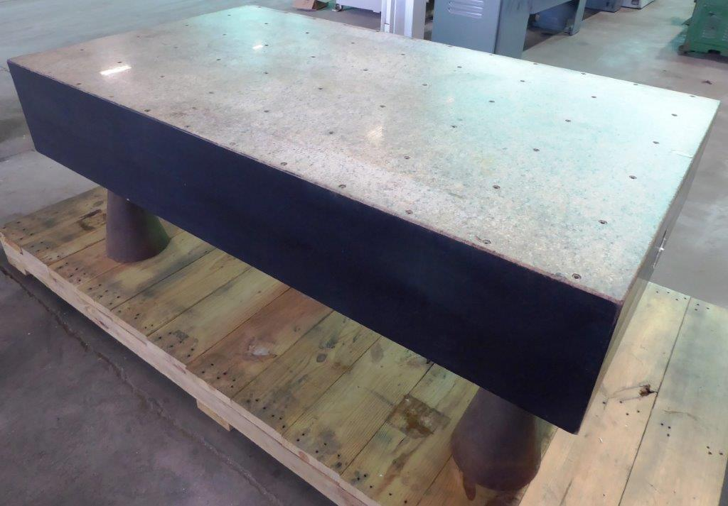 Granite Surface Plate: 39″ x 70″ Starrett, Pink Granite, 12″ Thick, Drilled and Tapped, Stands