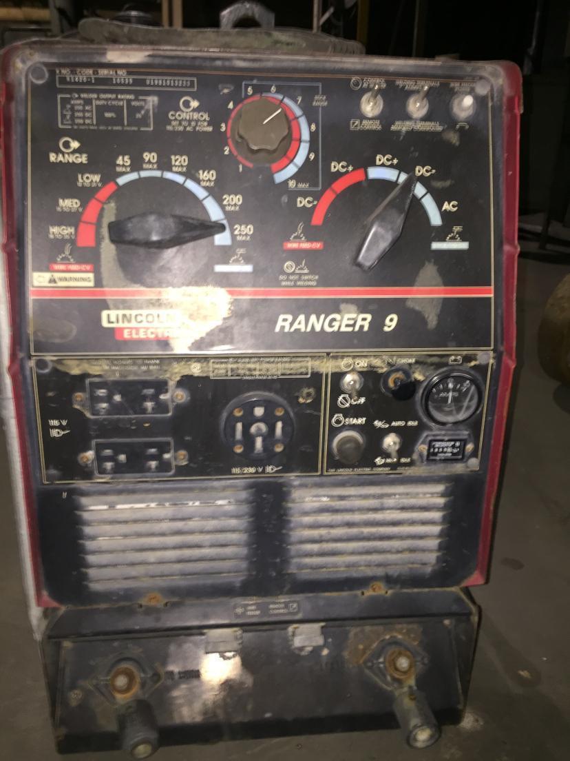 1 - PREOWNED LINCOLN ELECTRIC WELDER/GENERATOR, RANGER 9, S/N: 10539-U1981013230