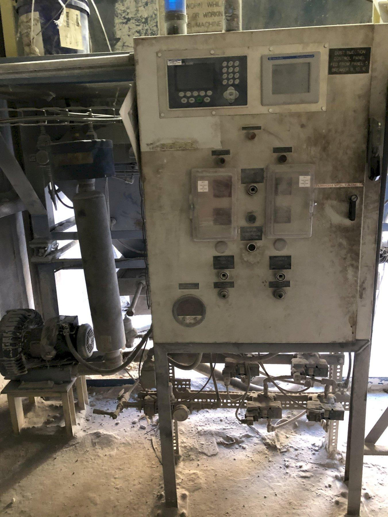 """Dust Injection System with 2- 4000# hoppers and support on load cells with Mettler scale system, each with feeder, and 2"""" common injection system with plc controls, Dayton 2 ton electric hoist with pendent controls"""
