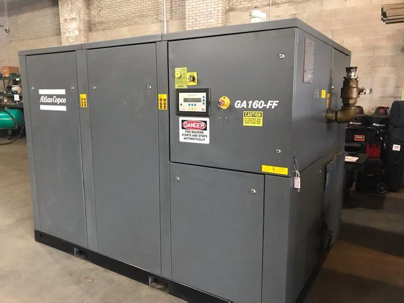 200 Hp Atlas Copco GA 160 Rotary Screw air compressor w/ integrated Refrigerated air dryer
