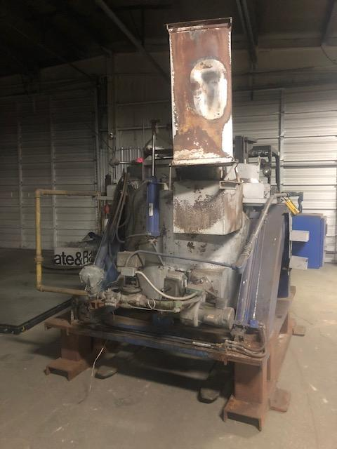 Thermtronix (knockoff) model gt600 gas fired tilting crucible furnace s/n 1622 rated at 800# capacity, 450# per hour melt rate, hydraulic operated tilting and cover, Eclipse veri-flame burner control, West digital readout, hydraulic pump and motor