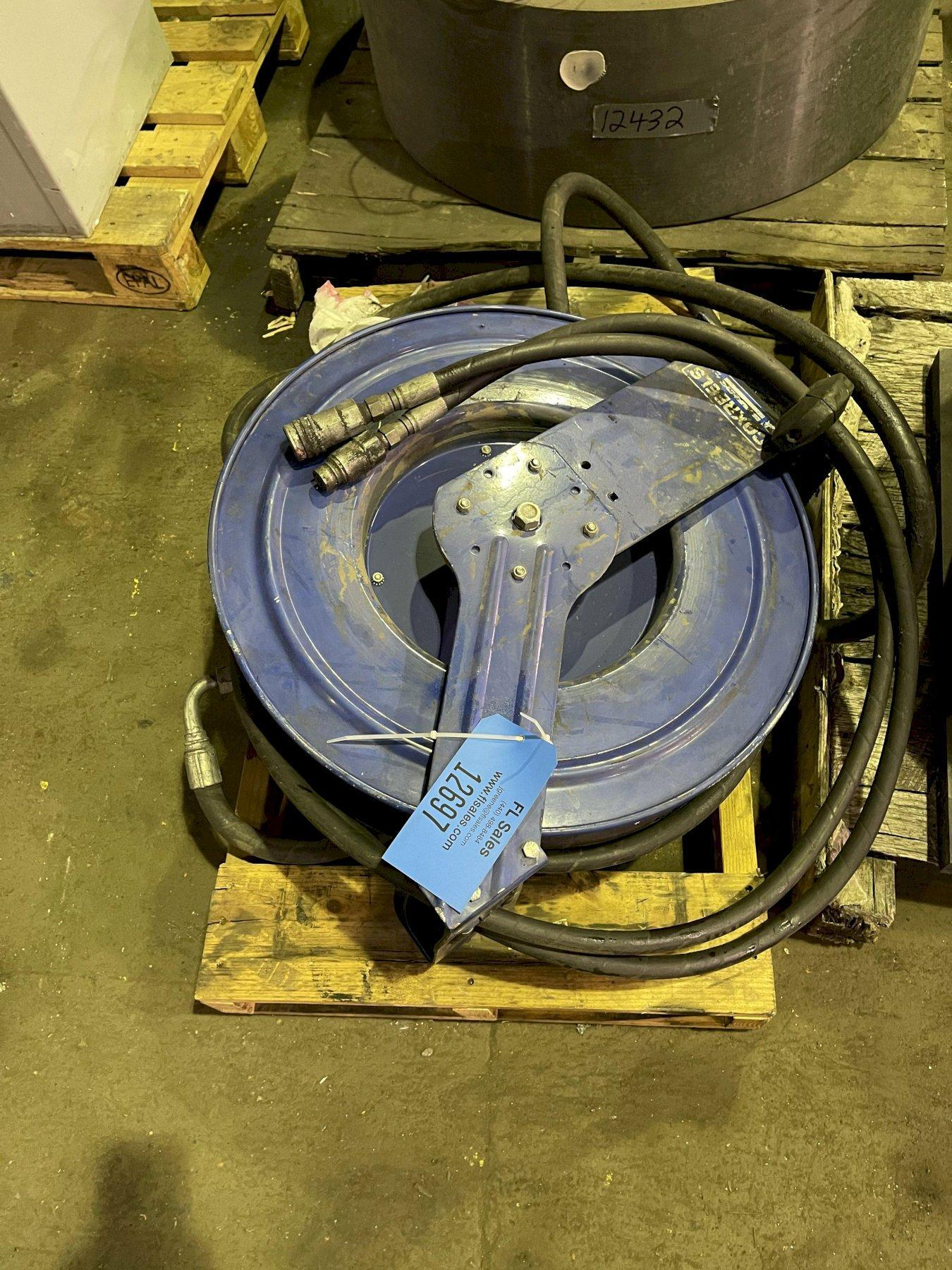 hydraulic hose reel for Hall molding machine priced with tag# 12698 and 12699