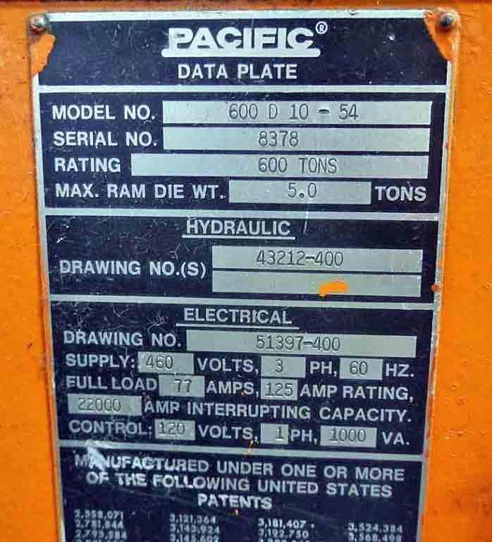 600 Ton Pacific Straight Side Hydraulic Press