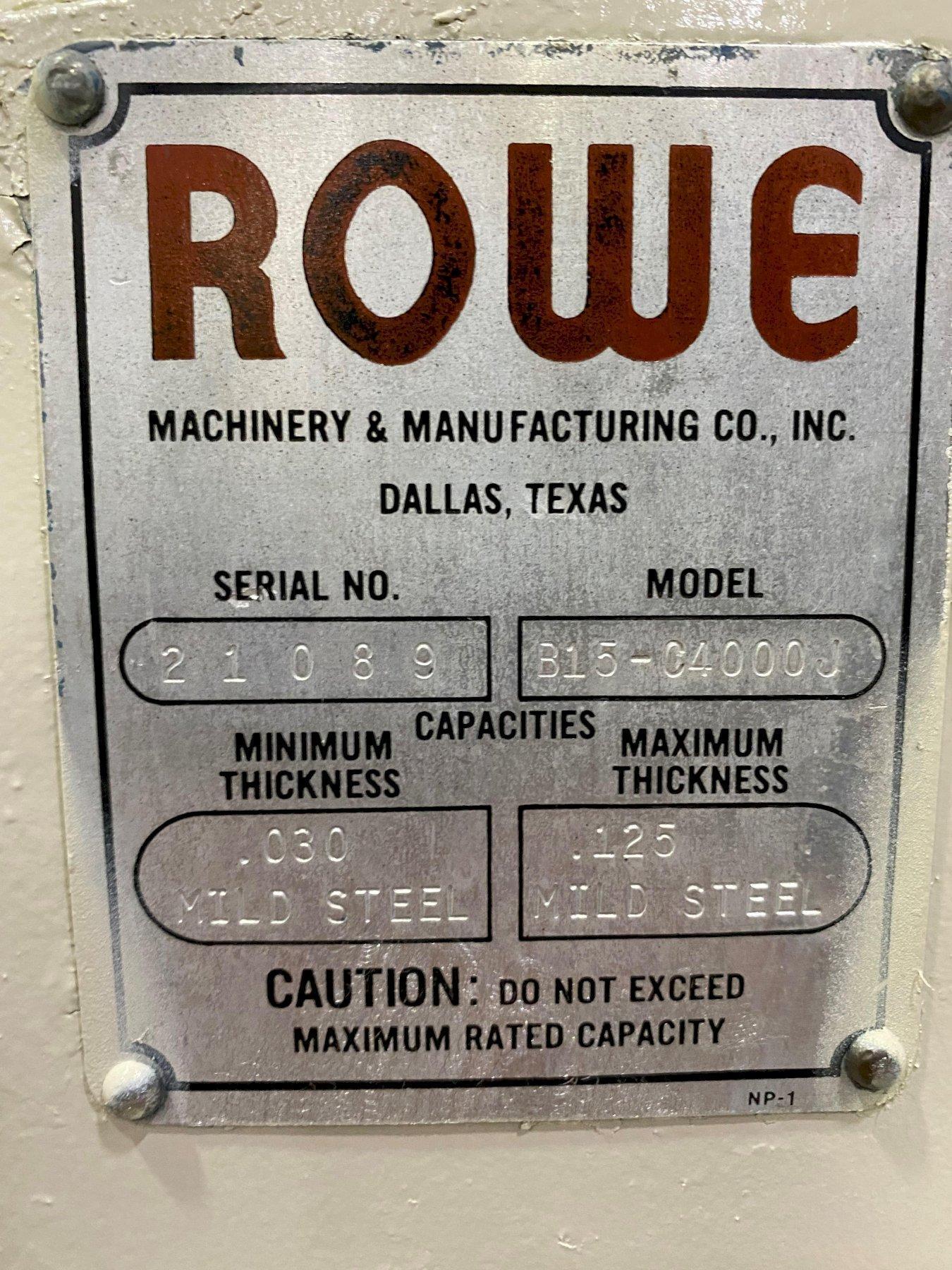 "4,000 LB x 15"" ROWE CRADLE STRAIGHTENER"