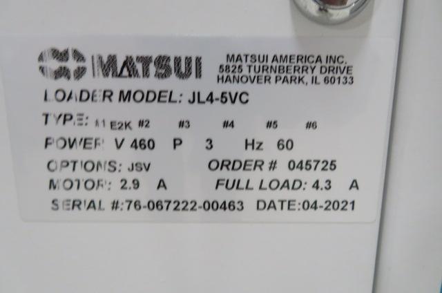 Matsui Used JL4-5VC Material Jet Loader with JSV Valve 2hp, 460V, Yr. 2021