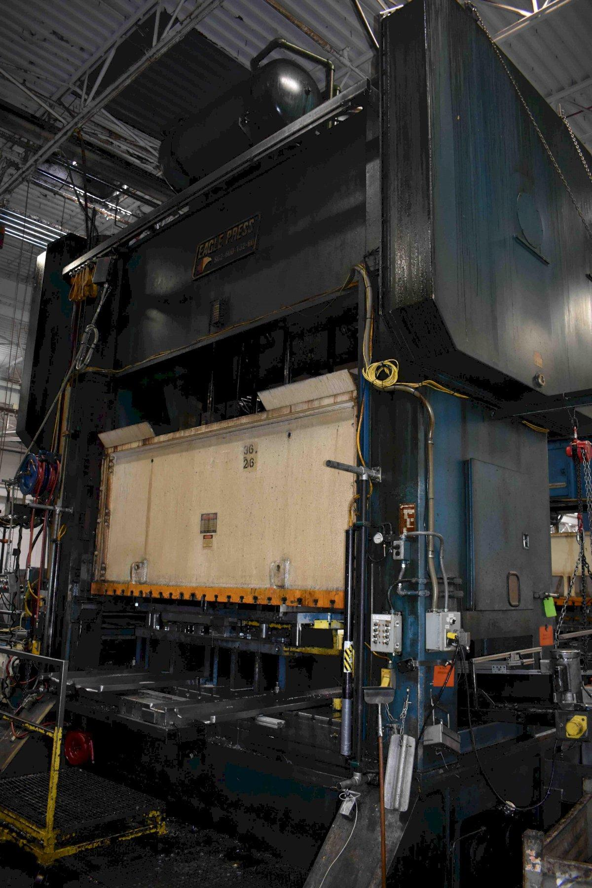 "600 Ton Eagle SSDC Press, Model SC2-600-132-60, 16"" STR, 36"" SH, 10"" ADJ, 132"" x 60"" BA, 36"" WDO, 30-60 SPM, Year 2000, Feed Line"