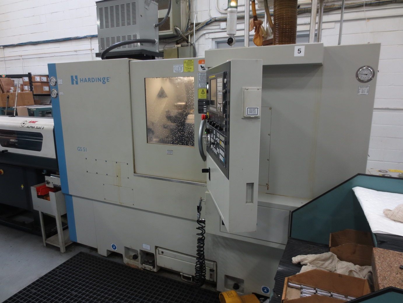 "Hardinge GS-51MS CNC Lathe w/Milling & Subspindle, Fanuc 0i-TD Control, 18"" Swing, 5.74""/15.98"" Travels, 5000 RPM, 2"" Bar Capacity, 12 Position Turret, BF Interface, Parts Catcher, C-Axis, Custom Macros, Low Hrs, 2013"