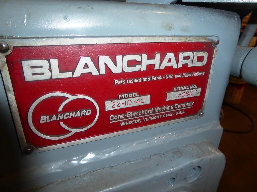 Blanchard #22HD-42, 42″ Geared Head Vertical Spindle Rotary Surface Grinder, 79′