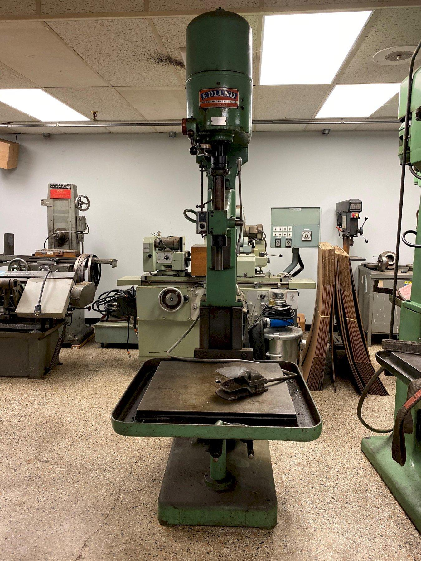 Edlund Model 2F-15 Drill Press, S/N 64329, New 1964, with Motor Reversing Tapping Attachment.