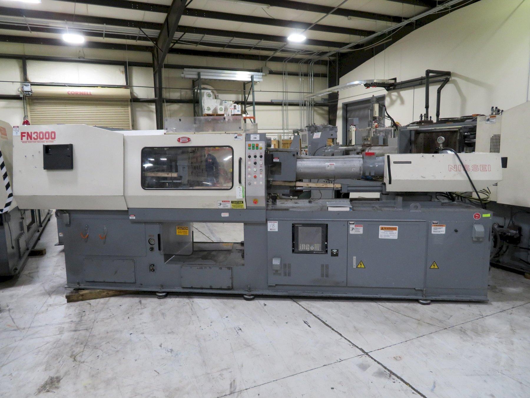 Nissei Used FN3000-25A Injection Molding Machine, 154 US ton, Yr. 2000, 10.5 oz. 460V