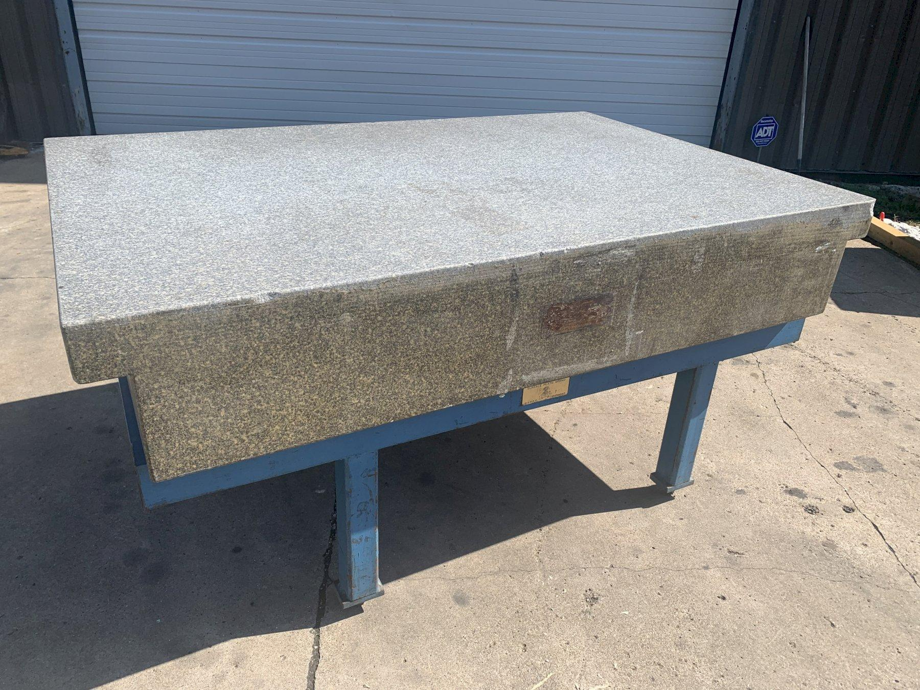 """48"""" X 72"""" X 12"""" ROCK OF AGES GRANITE SURFACE PLATE WITH STEEL STAND: STOCK #11185"""
