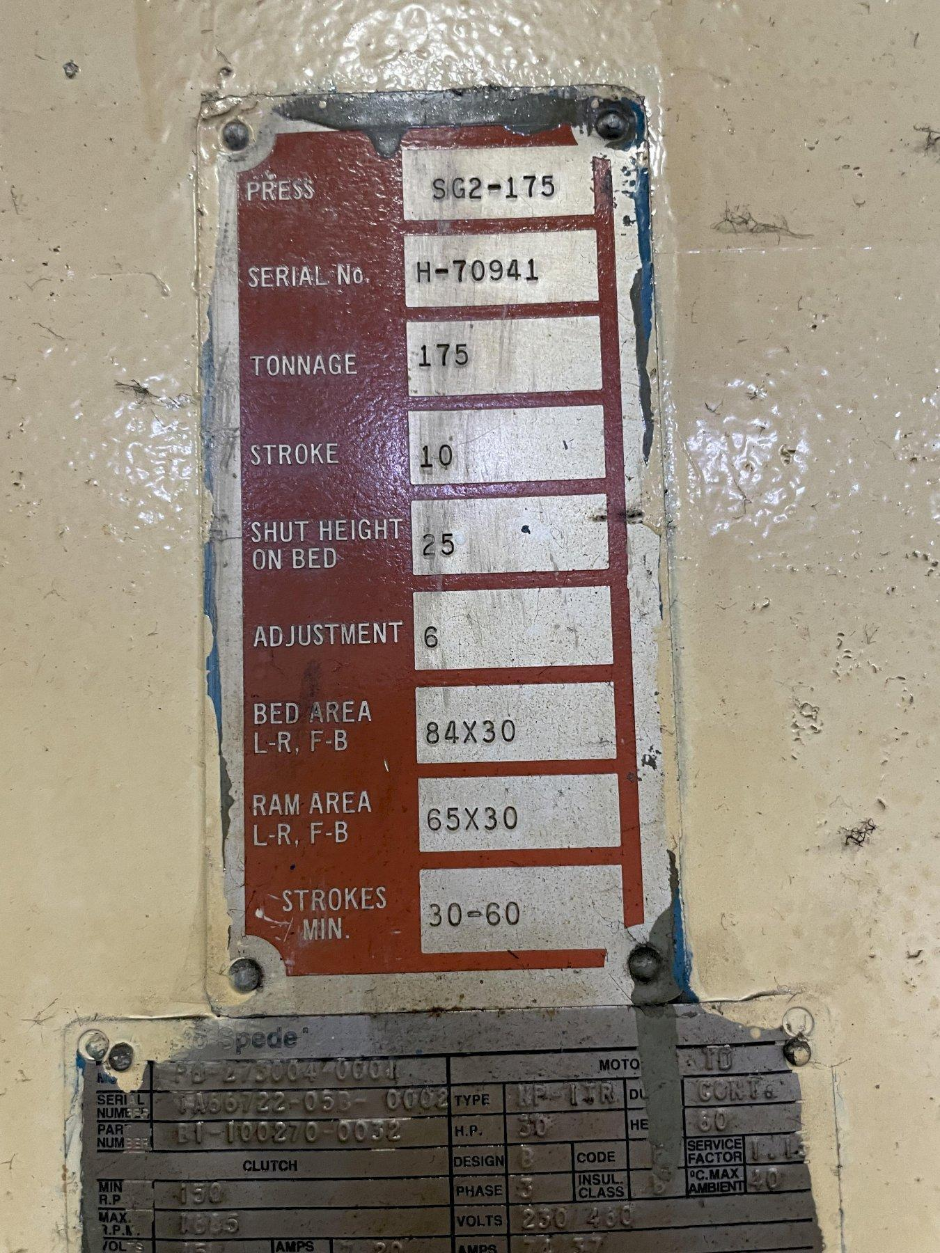 175 TON BLISS SG2-175 DOUBLE CRANK GAP FRAME PRESS. STOCK # 0635221