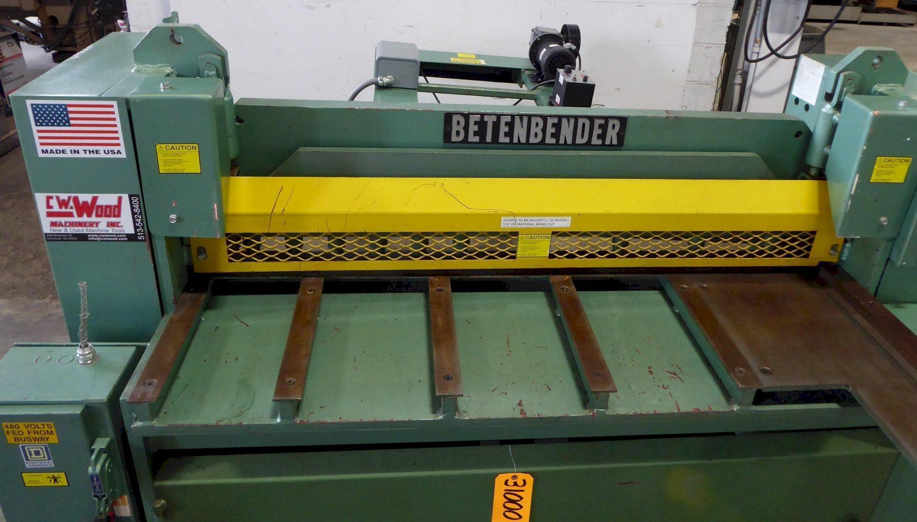 "5' x 10 Ga. Betenbender Hydraulic Shear, 36"" ROPBG, Very Nice"