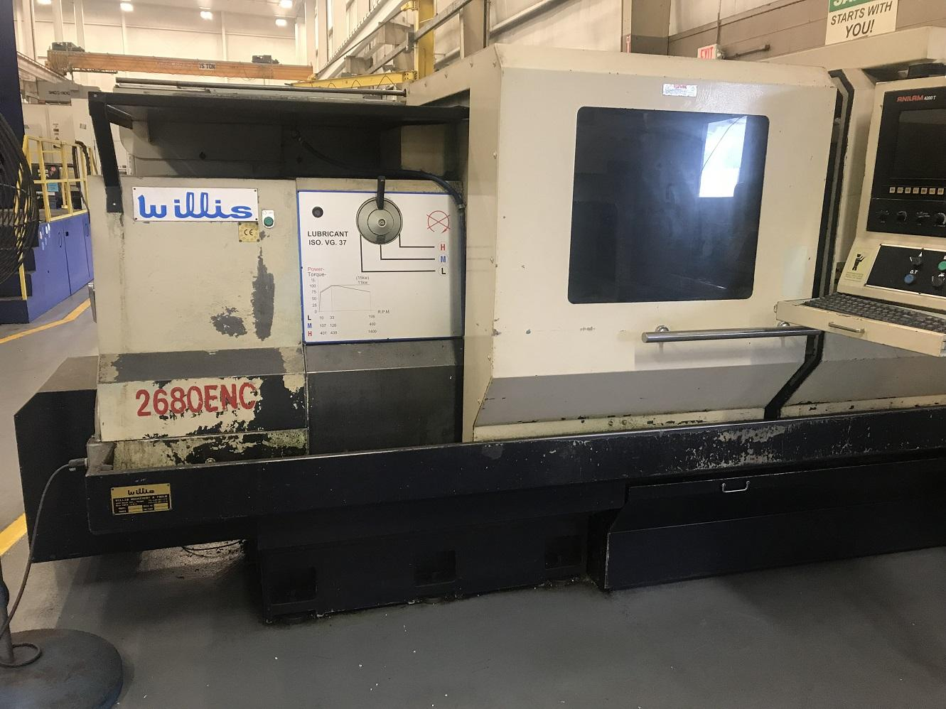 "Willis Model 2680 ENC 26"" x 80"" CNC Flatbed Lathe"