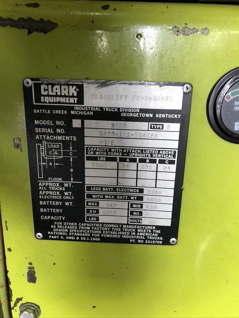 2,000 LB CLARK WALK BEHIND ELECTRIC LIFT TRUCK, MODEL SP20,