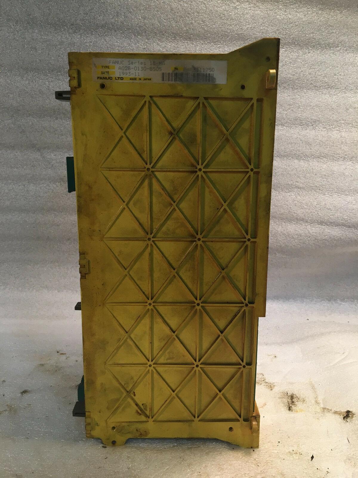 FANUC Series 18-MA Control Unit, Type: A02B-0130-B505 with A16B 2200-0956 04A302767 PCB Card & A16B 2201-0080 06A303418 18 Control system series CPU pcb, & A16B 1212-0531 06B303063 Power supply board. No: 3111750, Date: 1993-11