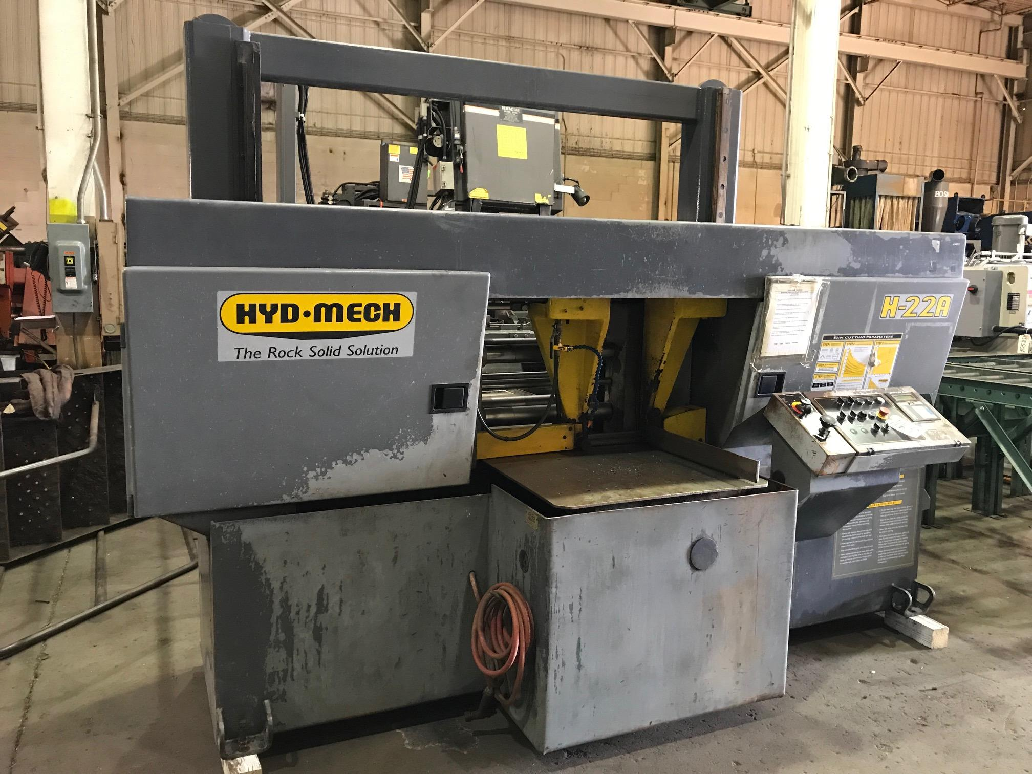 "USED HYD-MECH AUTOMATIC HORIZONTAL BANDSAW MODEL H-22A 22"" X 22"", STOCK# 10630, YEAR 2001"