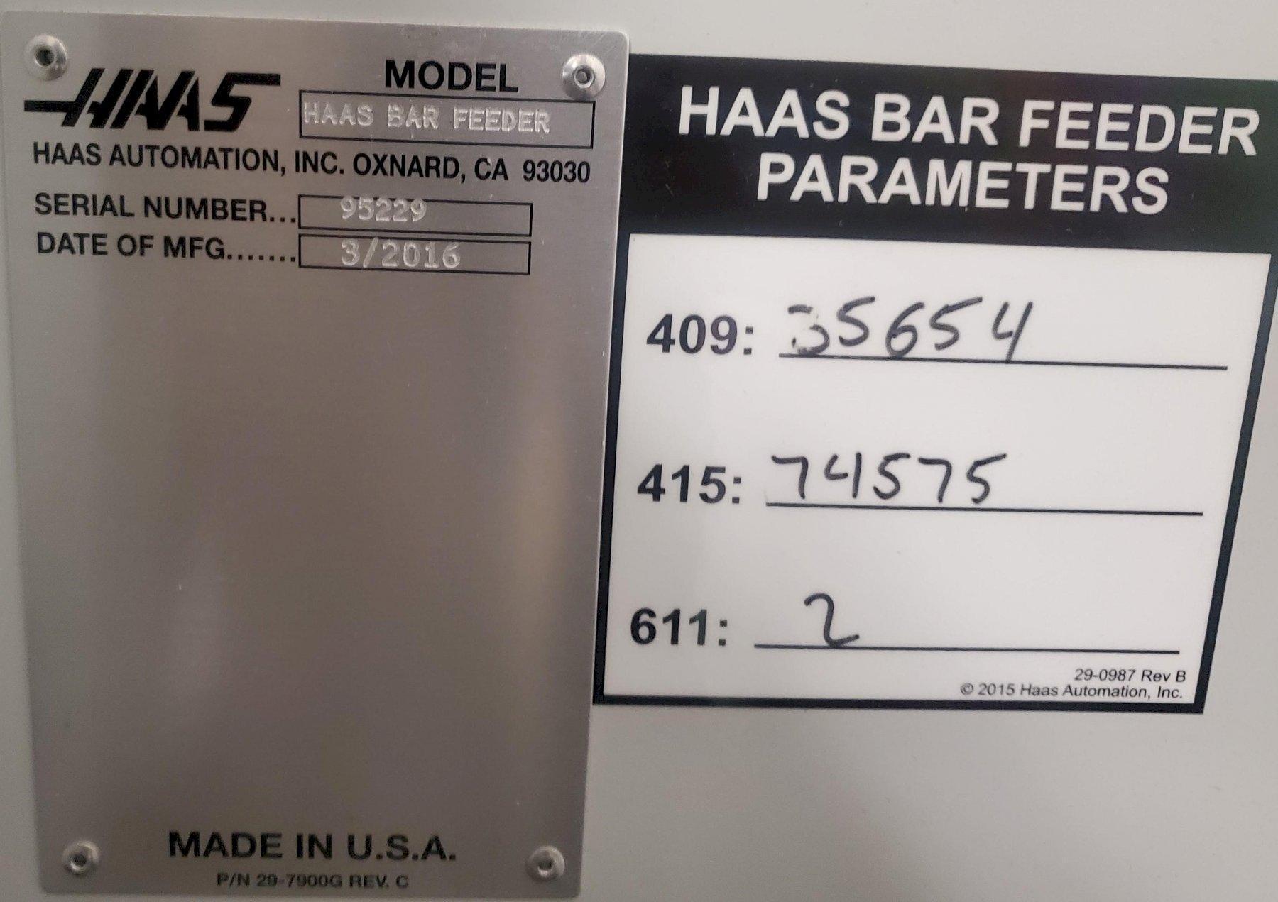 HAAS BAR FEEDER (2) STOCK # 2785
