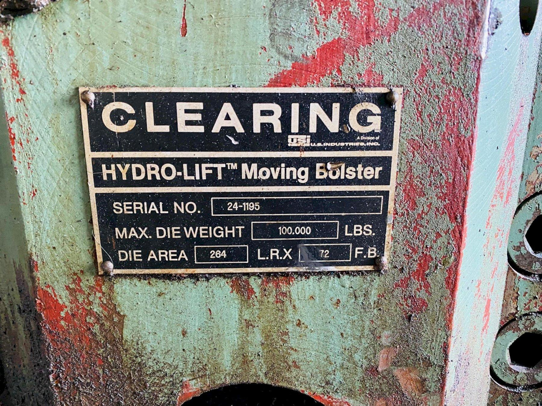 """264"""" x 72"""" CLEARING HYDROLIFT ROLLING BOLSTER. STOCK # 0849220"""