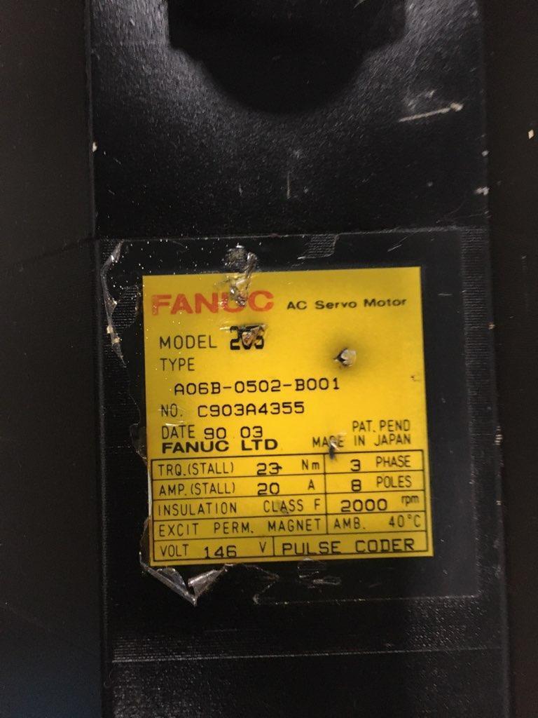 FANUC AC SERVO MOTOR, Model 20S, Type A06B-0502-B001.