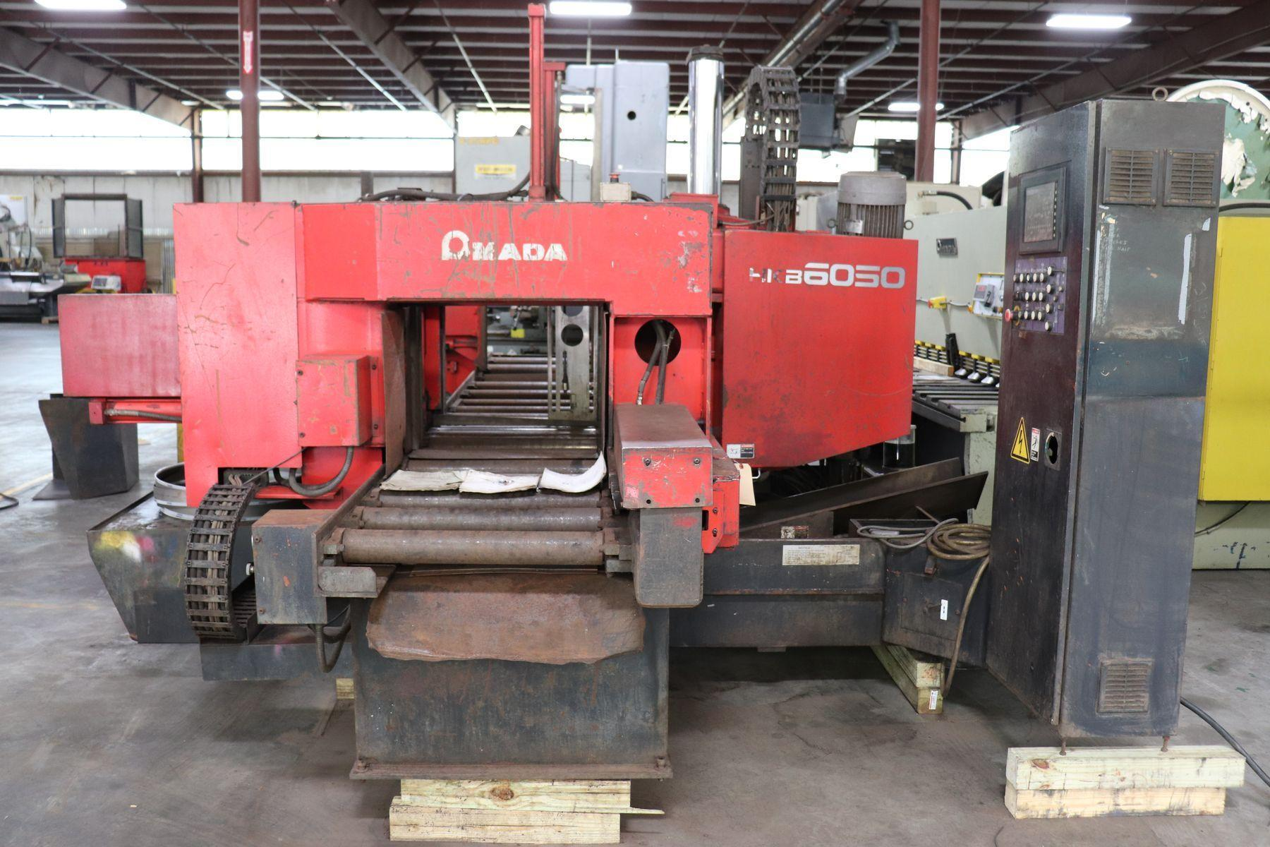 "24"" x 20"" AMADA HKB 6050 CNC Twin Post Horizontal Band Saw, Bundle Vise, 2002"