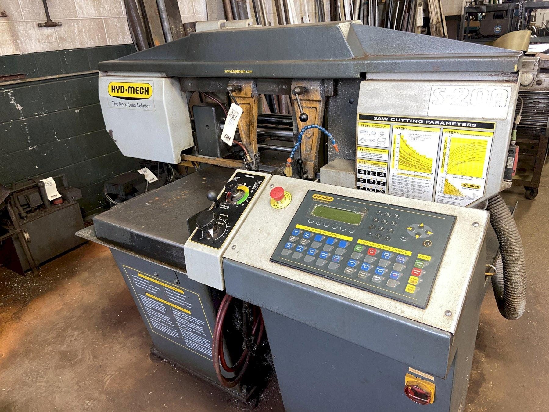"""Hyd-Mech S-20A Automatic Horizontal Saw, 13"""" x 18"""" Rect, 12"""" Rounds, 1"""" Blade, Bundling, Bar Feed, Mitre Cutting, Infeed and Outfeed Table, 2007"""