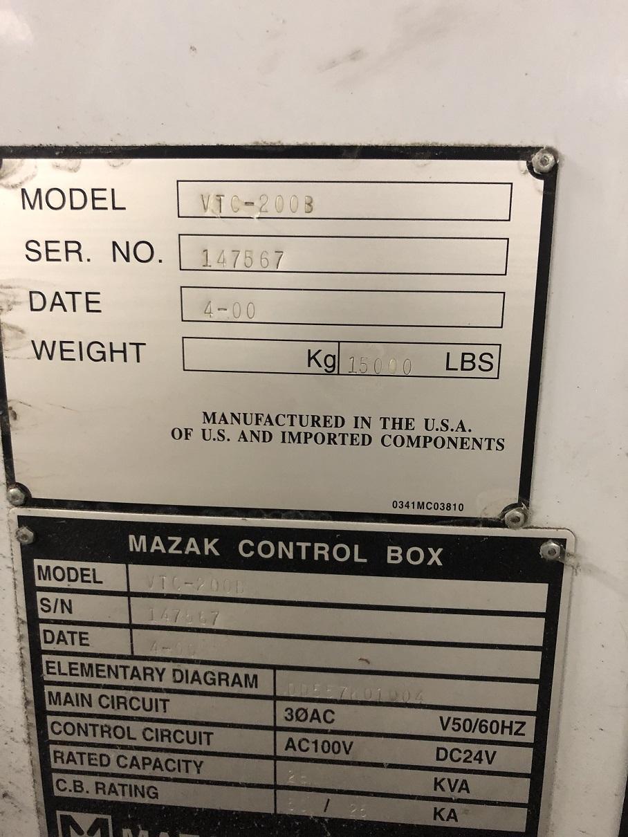 "Mazak Vertical Machining Center VTC-200B, 44""X, 20""Y, 20""Z, 57"" x 20"" Tbl., 10,000 RPM, CAT 40, Fusion 640M, 2000"