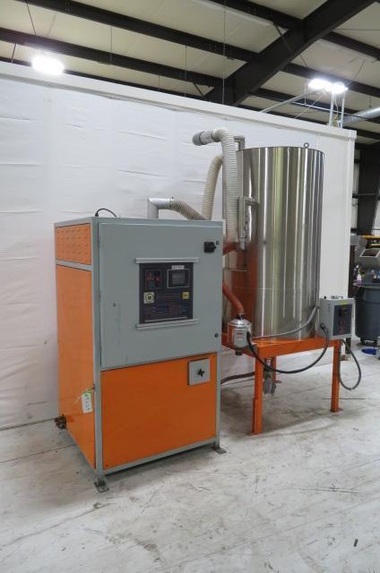 Motan Used MDD200 Material Dryer and Hopper, Approx 150 lb/hr, Desiccant, 480V