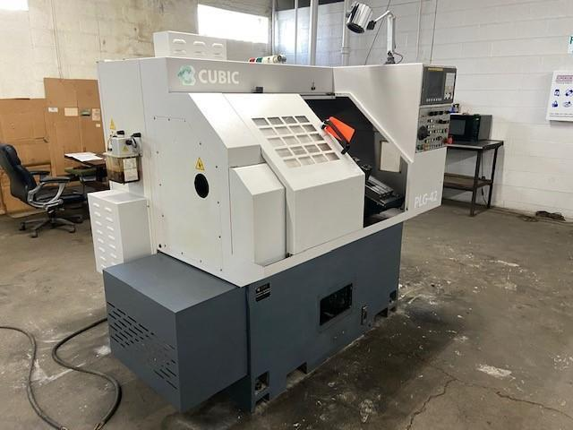 """Cubic PLG-42 CNC Gang-Style Lathe, Fanuc 0i, 6"""" Chuck/Collet Chuck, 6"""" Turn Dia., 1.65"""" Bar Cap, 6K Spindle, Gang Tool Plate, BF Interface, Holders, 2010"""