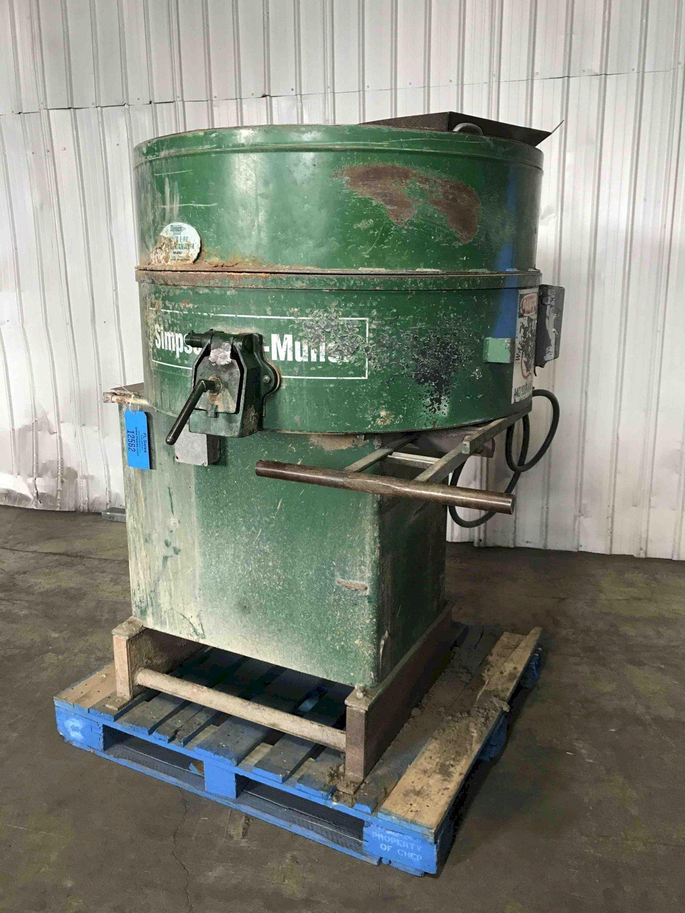 simpson model 05 stationary portomuller with dust hood and sample door, slide gate sand discharge