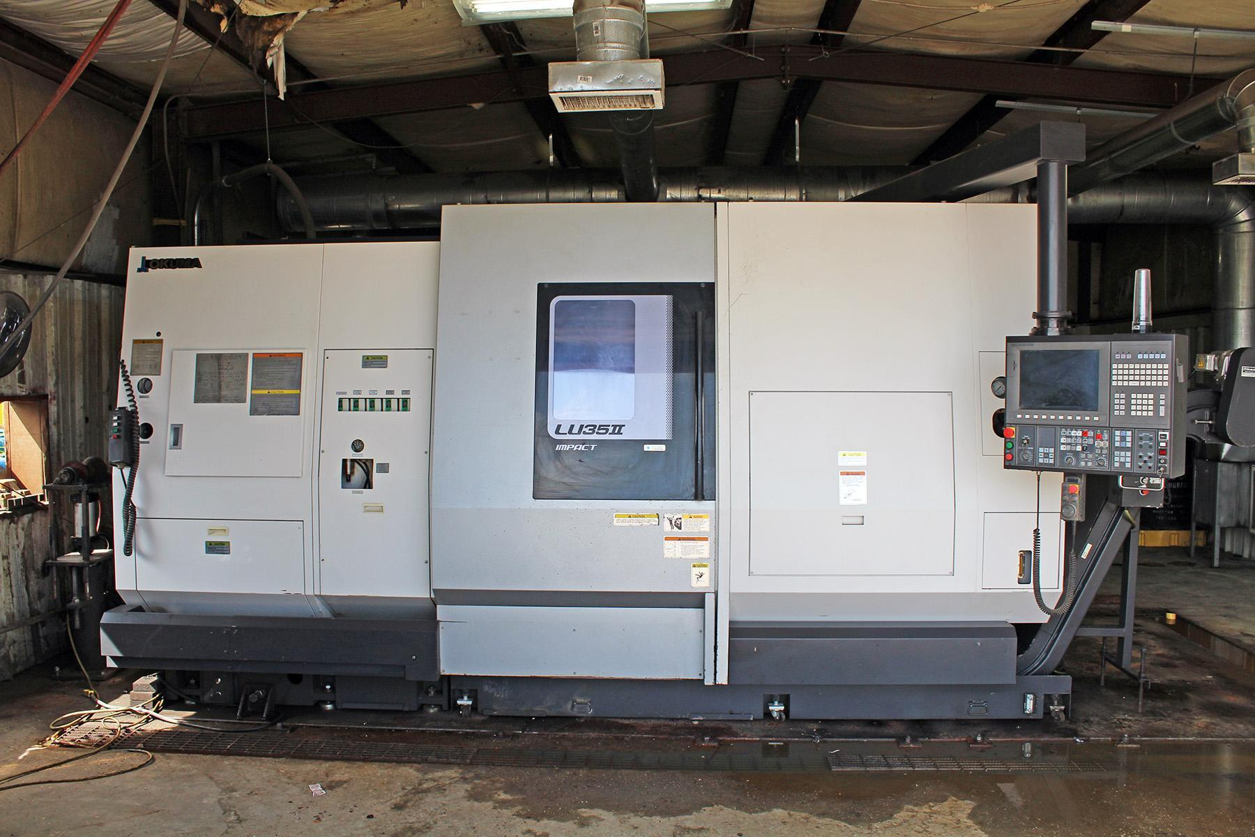 USED, OKUMA LU35-II SUPER BIG BORE DUAL TURRET CNC LATHE