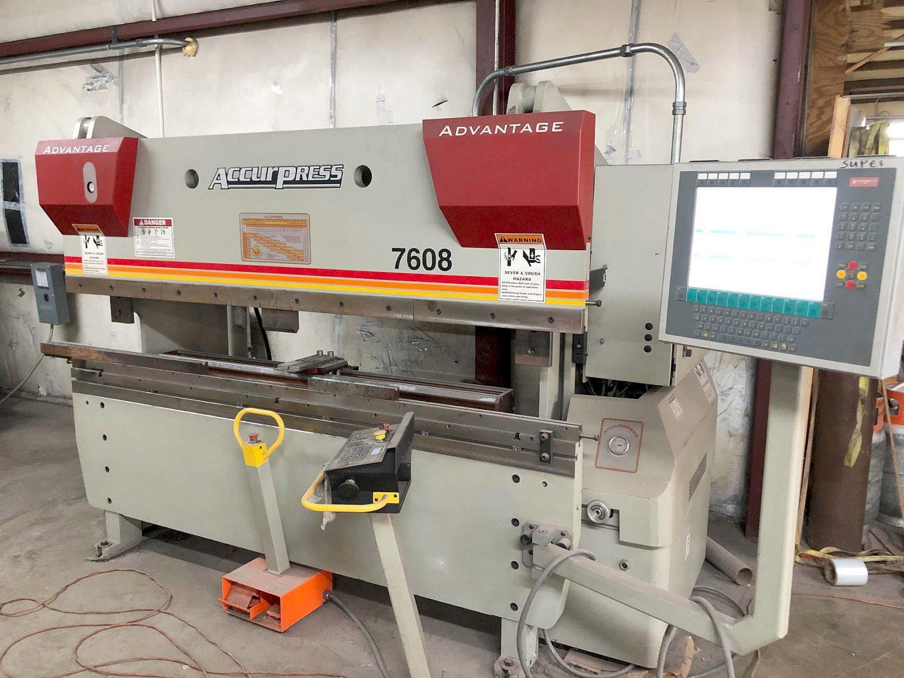 "60 ton x 8' Accurpress Press Brake, Model 7608, 2-Axis CNC Backgauge, 96"" OA Bed, 76"" Between Housings, New 2011."