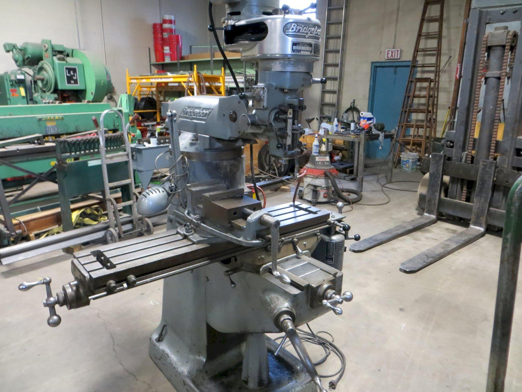 "3/4 HP Used Bridgeport Milling Machine, 9"" x 42"" Table, Single Phase"