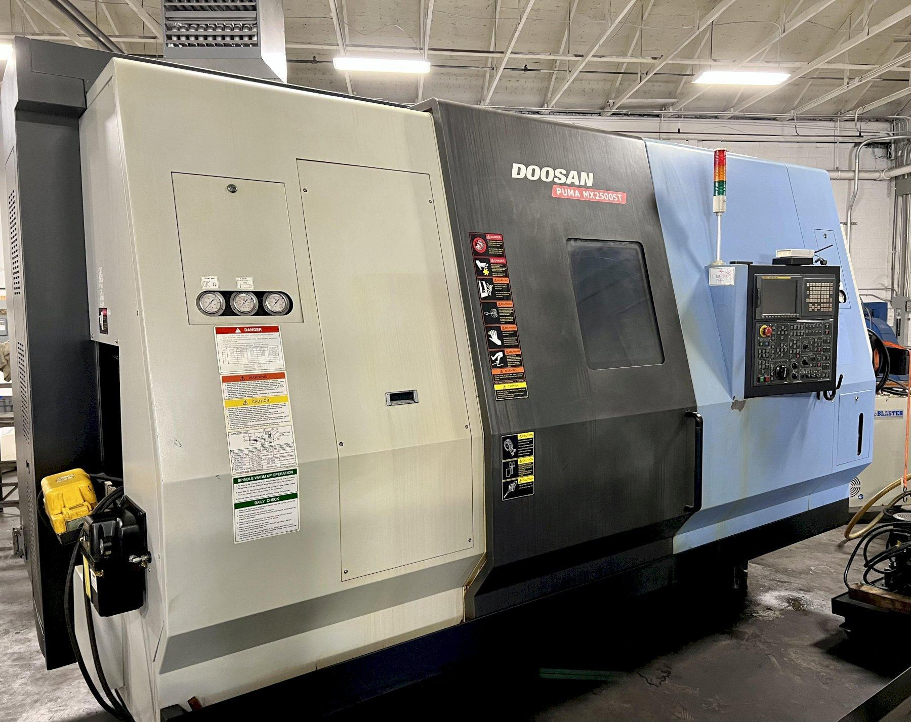 """DOOSAN PUMA MX2500ST 9-AXIS CNC TURNING CENTER, Fanuc 18i CNC Control, 29"""" Swing, 40"""" Center Distance, Main & Sub-Spindle Universal B-Axis Milling Spindle, 12 Position Lower Turret w/ Live Tooling, 40 Station Tool Changer, New 2008."""