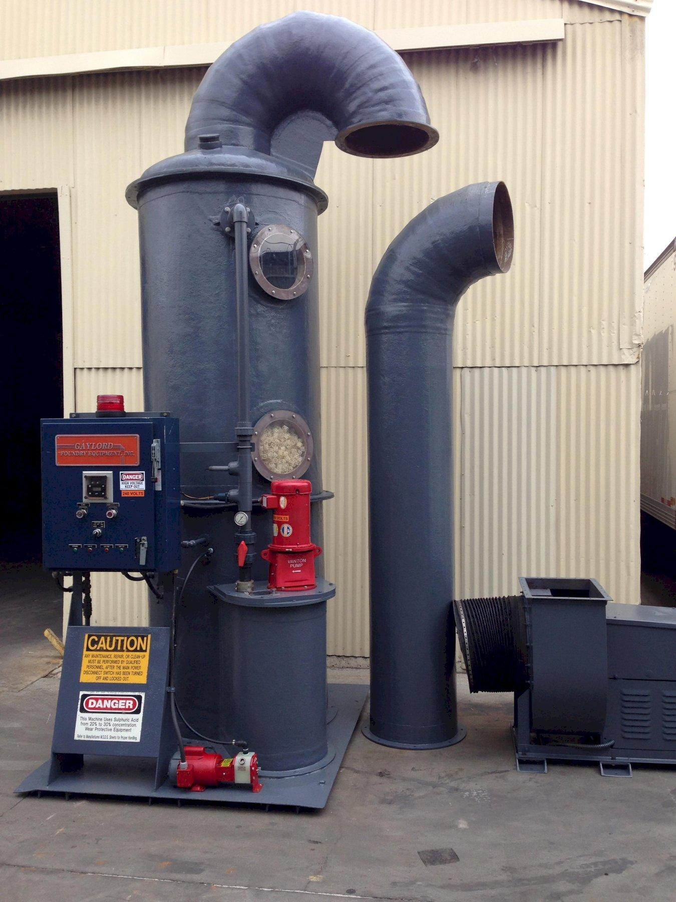 Packed Tower Wet Fume Scrubber Gaylord Foundry Amine Scrubber 4000 cfm
