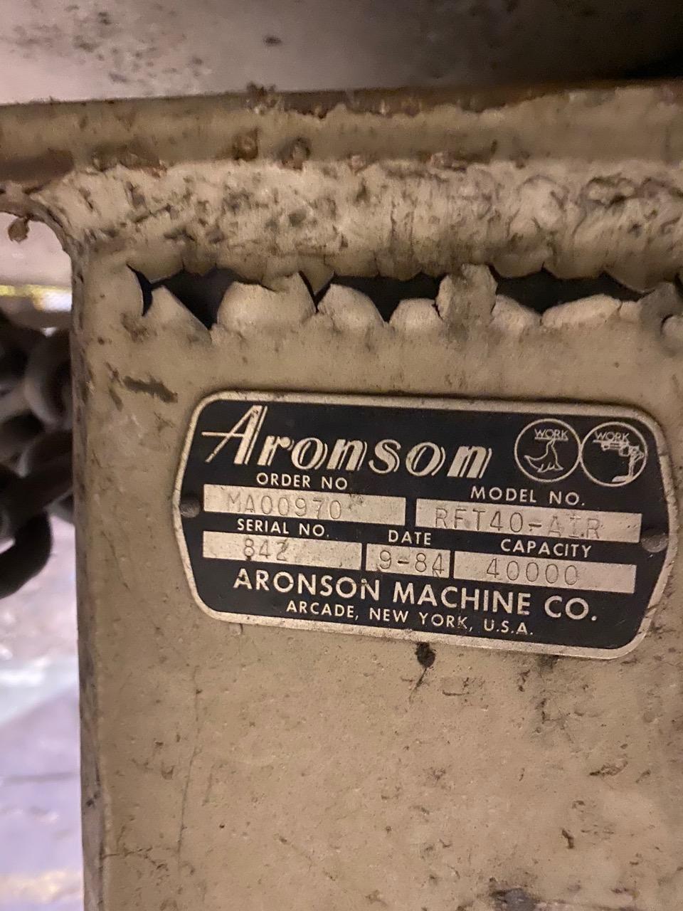 "132"" X 40,000 LB ARONSON RFT40 FLOOR ROTATING WELDING POSITIONER. STOCK # 1056820"