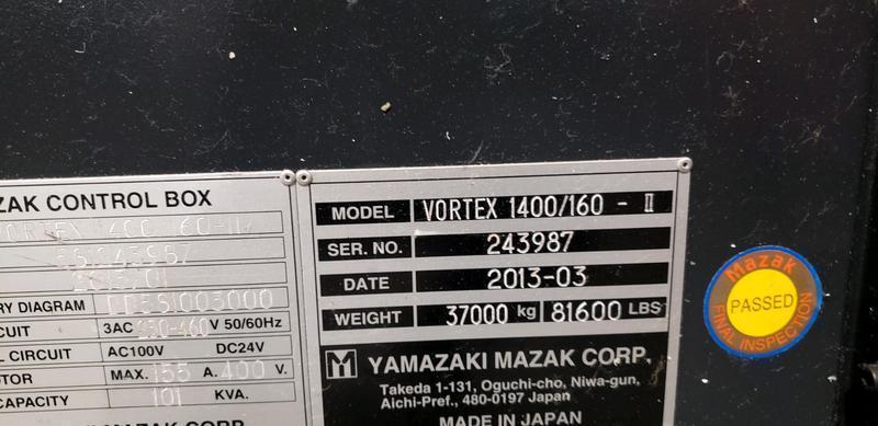 "MAZAK VORTEX 1400/160-ii 5-Axis, Mazatrol FX (Fanuc 31i) CNC Control, 157"" x 49"" Table, X=165"", Y=55"", Z=24"", A&B +/- 40 Degree, 50 HP, 12,000 RPM, New 2013."