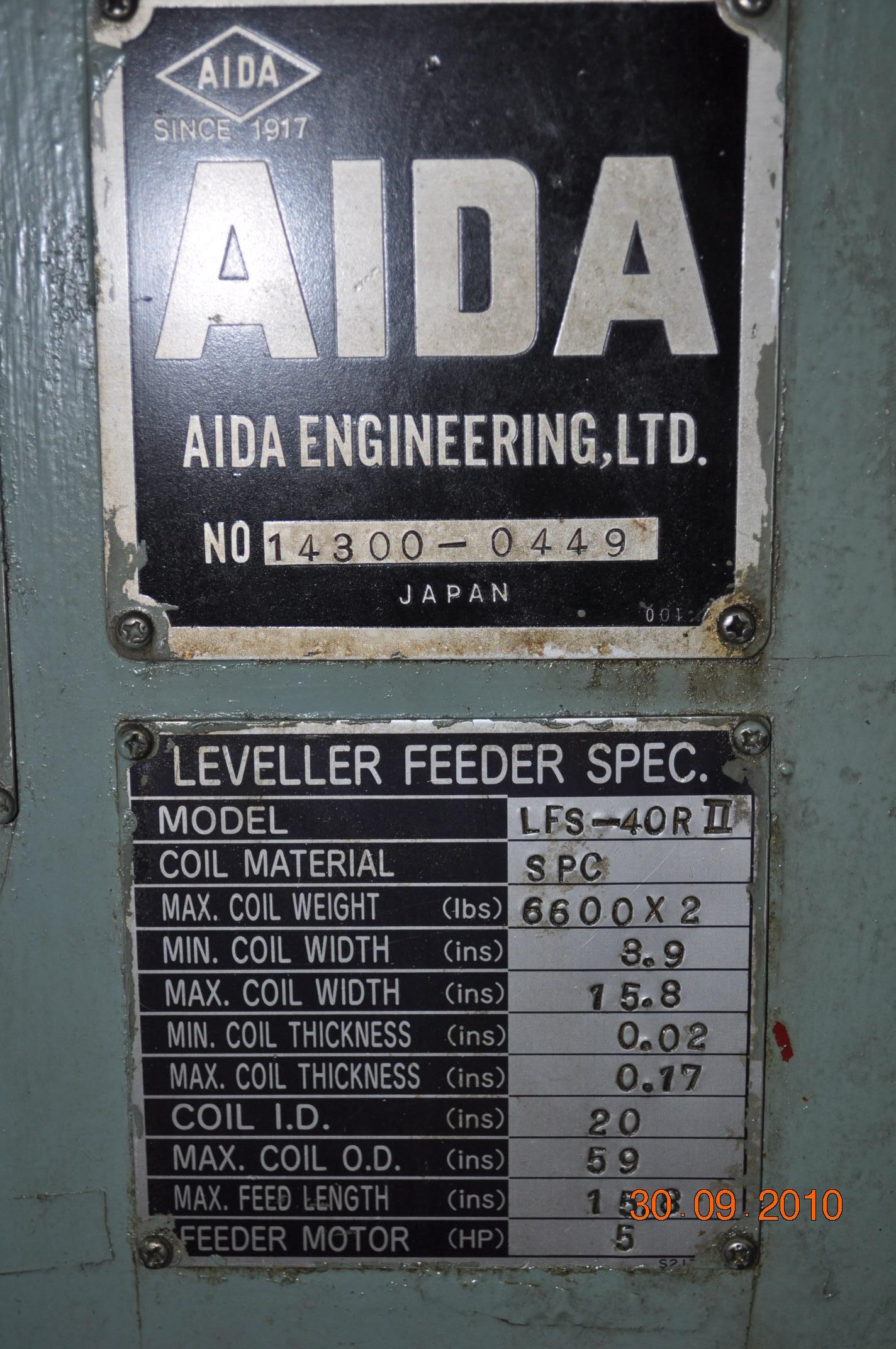 """6600 LB x 15.8"""" X .170 AIDA SERVO FEEDLINE"""