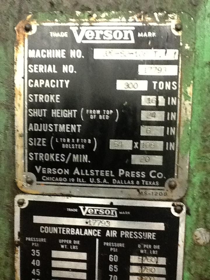 300 TON VERSON SSDC PRESS