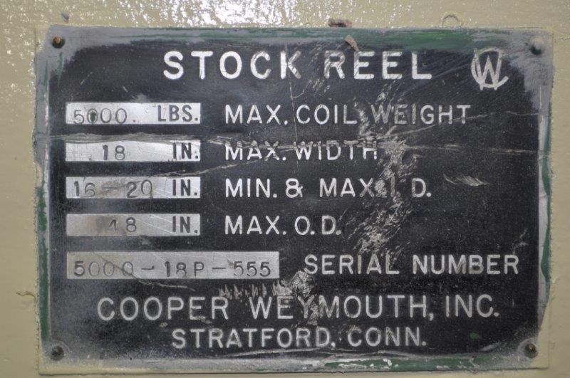 "5000 LB x 18"" COOPER WEYMOUTH PETERSON NON-MOTORIZED UNCOILER"