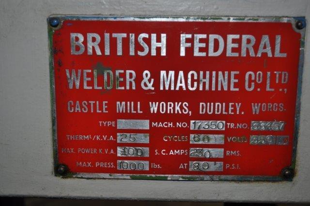 100 KVA BRITISH FEDERAL SPOT WELDER