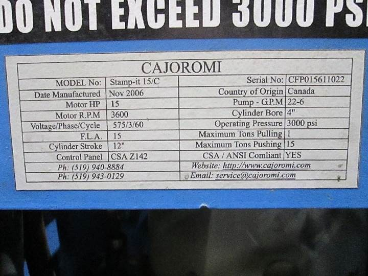 15 TON CAJOROMI  C FRAME HYDRAULIC PRESS