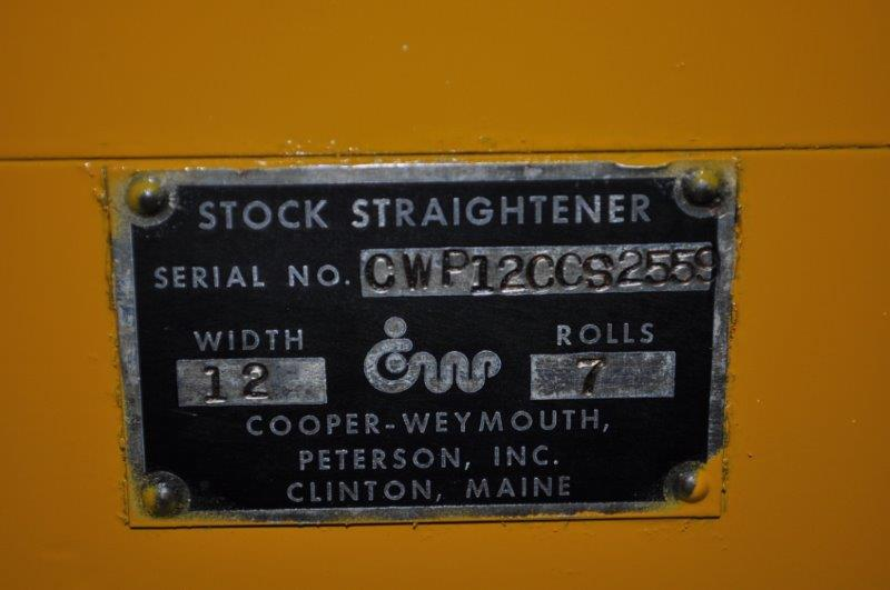"8000 x 12"" x .078"" COOPER WEYMOUTH PETERSON COIL CRADLE STAIGHTENER"